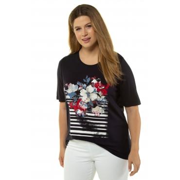 Ulla Popken Damen  T-Shirt, Streifen-/Blütenprint, Classic, Elasthan, marine, Gr. 58/60, Mode in großen Größen