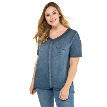 Ulla Popken Damen  T-Shirt, Motiv GOOD VIBES ONLY, Regular, Pailletten, marine, Gr. 58/60, Mode in großen Größen