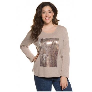 Ulla Popken Damen  Shirt, Marmor-Motiv, Regular, Metallic-Effekt, Langarm, creme-rosé, Gr. 54/56, Mode in großen Größen