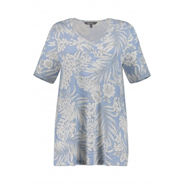 Ulla Popken Damen  T-Shirt, Blütenmuster, A-Linie, Streifen, meeresblau, Gr. 58/60, Mode in großen Größen