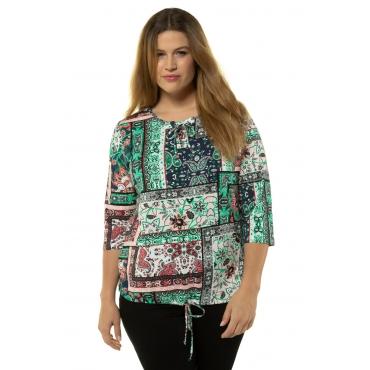 Ulla Popken Damen  Shirt, Patchlook, Schnürung, 3/4-Arm, mehrfarbig, Gr. 58/60, Mode in großen Größen