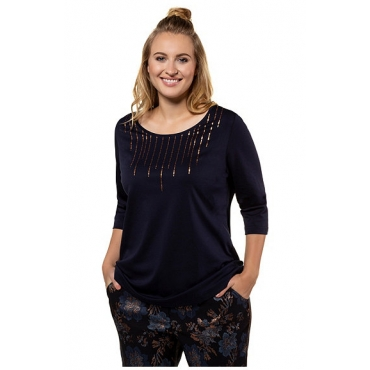 Ulla Popken Damen  Shirt, Metallic-Fransendruck, Classic, Pima-Baumwolle, marine, Gr. 58/60, Mode in großen Größen