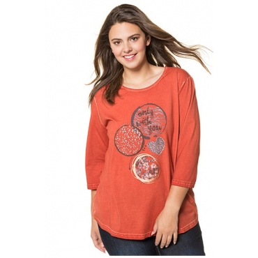 Ulla Popken Damen  Shirt, Metallic-Motiv, 3/4-Arm, rostorange, Gr. 58/60, Mode in großen Größen