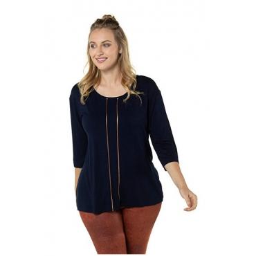 Ulla Popken Damen  Shirt, Metallic-Paspel, Oversized, 3/4-Arm, marine, Gr. 46/48, Mode in großen Größen