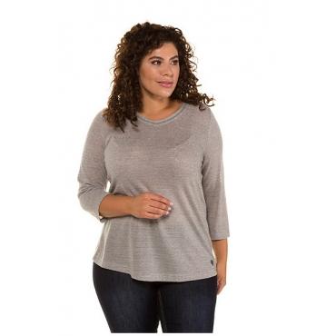 Ulla Popken Damen  Shirt, Metallic-Streifen, Classic, V-Ausschnitt, hellgrau-melange, Gr. 58/60, Mode in großen Größen