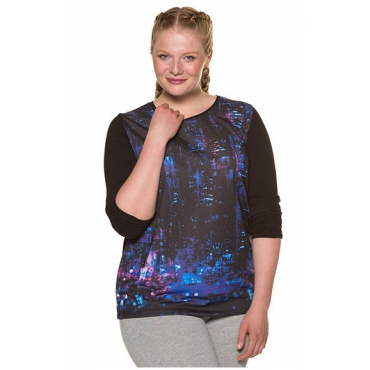 Ulla Popken Damen  Shirt, Metropolen-Motiv, Rundhalsausschnitt, Elasthan, schwarz, Gr. 58/60, Mode in großen Größen