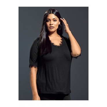 Ulla Popken Damen  Shirt mit femininen Spitzeneinsätzen, V-Ausschnitt, schwarz, Gr. 58/60, Mode in großen Größen
