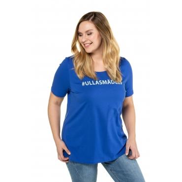 Ulla Popken Damen  T-Shirt, Motiv #ULLASMÄDELS, Classic, mittelblau, Gr. 58/60, Mode in großen Größen