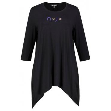 Ulla Popken Damen  Shirt, Motiv MOJO, Ziernieten, Zipfelsaum, schwarz, Gr. 58/60, Mode in großen Größen