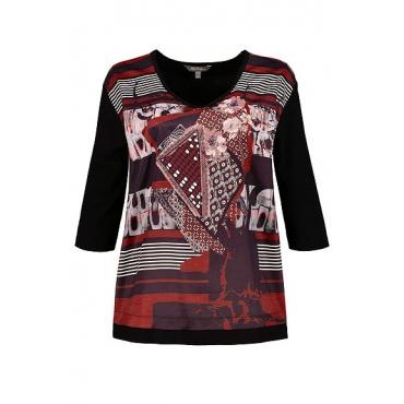 Ulla Popken Damen  Shirt, Mustermix, Oversized, Satin-Vorderseite, 3/4-Arm, schwarz, Gr. 54/56, Mode in großen Größen