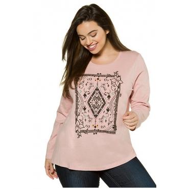 Ulla Popken Damen  Shirt, Ornamentdruck, Classic, Flammjersey, altrosa, Gr. 54/56, Mode in großen Größen