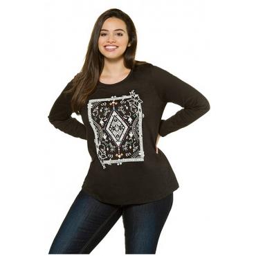 Ulla Popken Damen  Shirt, Ornamentdruck, Classic, Flammjersey, schwarz, Gr. 46/48, Mode in großen Größen