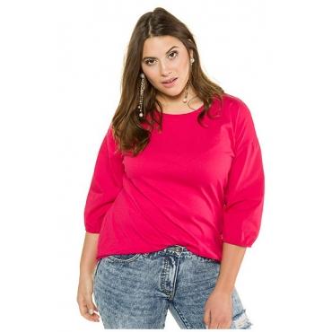 Studio Untold Damen  Shirt, oversized, 3/4-Ballonärmel aus Web, himbeere, Gr. 46/48, Mode in großen Größen