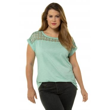 Ulla Popken Damen  T-Shirt, Spitze, Oversized, Pailletten, oil dyed, hell-mint, Gr. 58/60, Mode in großen Größen