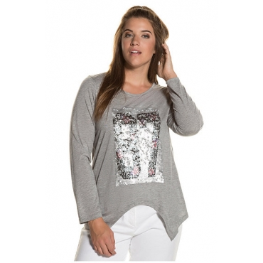 Ulla Popken Damen  Shirt, Pailletten-Motiv 87, Wendepailletten, Zipfelsaum, hellgrau-melange, Gr. 54/56, Mode in großen Größen