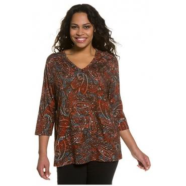 Ulla Popken Damen  Shirt, Paisley, 3/4-Ärmel, Relaxed, A-Line, mehrfarbig, Gr. 58/60, Mode in großen Größen
