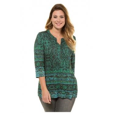 Ulla Popken Damen  Shirt, Paisley-Design, Tunika-Ausschnitt, selection, mittelgrün gemustert, Gr. 58/60, Mode in großen Größen