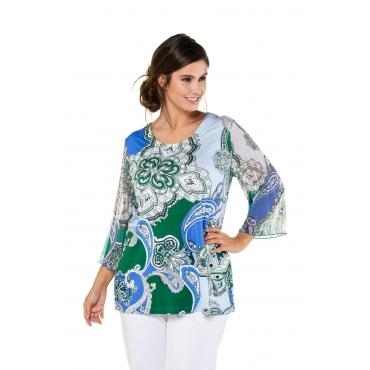 Ulla Popken Damen  Shirt, Paisleymuster, Classic, Plissee-Ärmel, selection, vergissmeinnicht, Gr. 58/60, Mode in großen Größen