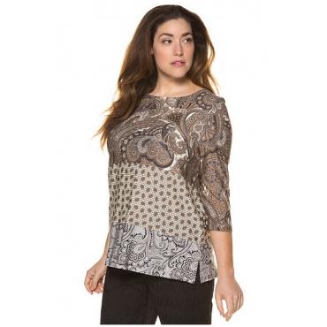 Ulla Popken Damen  Shirt, Paisleymuster, Patchlook, 3/4-Arm, selection, mehrfarbig, Gr. 58/60, Mode in großen Größen