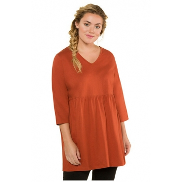 Ulla Popken Damen  Shirt, Prinzess-Form, 3/4-Ärmel, rostrot, Gr. 58/60, Mode in großen Größen