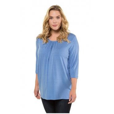 Ulla Popken Damen  Shirt, Pünktchen, A-Linie, Zierfalten am Ausschnitt, blau, Gr. 58/60, Mode in großen Größen