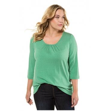Ulla Popken Damen  Shirt, Pünktchen, A-Linie, Zierfalten am Ausschnitt, grün, Gr. 58/60, Mode in großen Größen