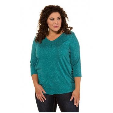 Ulla Popken Damen  Shirt, Pünktchen, Classic, Zierfältchen, 3/4-Arm, petrolgrün, Gr. 58/60, Mode in großen Größen