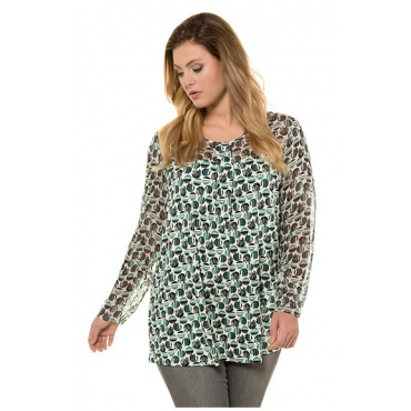 Ulla Popken Damen  Shirt, Punkte, Chiffon/Jersey, Langarm, selection, mittelgrün gemustert, Gr. 58/60, Mode in großen Größen