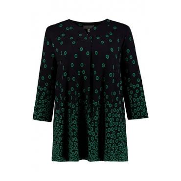 Ulla Popken Damen  Shirt, Punkte-Musterverlauf, A-Linie, Zierfalte, mittelgrün, Gr. 58/60, Mode in großen Größen