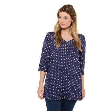Ulla Popken Damen  Shirt, Punktemuster, Relaxed, Herzausschnitt, 3/4-Arm, dunkelblau, Gr. 58/60, Mode in großen Größen