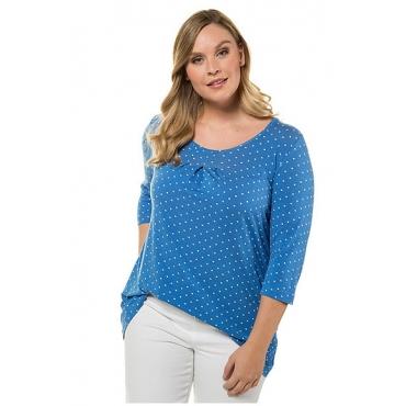 Ulla Popken Damen  Shirt, Punktmuster, 3/4-Arm, Zierfalten, mehrfarbig, Gr. 58/60, Mode in großen Größen