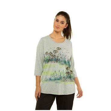 Ulla Popken Damen  Shirt, Pusteblumen-Motiv, Classic, 3/4-Arm, hellgrau-melange, Gr. 58/60, Mode in großen Größen