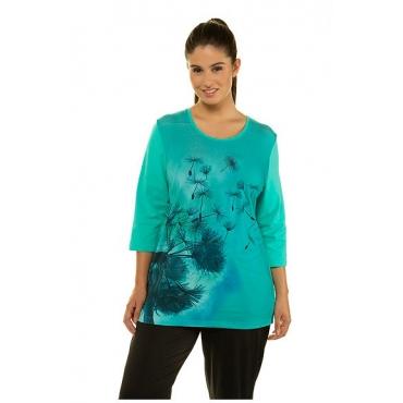 Ulla Popken Damen  Shirt, Pusteblumen-Motiv, Classic, Ziersteine, 3/4-Arm, türkisgrün, Gr. 58/60, Mode in großen Größen