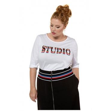 Studio Untold Damen  Shirt, Regenbogen-Statement, 3/4-Ärmel, weiß, Gr. 54/56, Mode in großen Größen