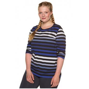 Ulla Popken Damen  Shirt, Ringel, Rundhalsausschnitt, reine Baumwolle, nachtblau, Gr. 58/60, Mode in großen Größen