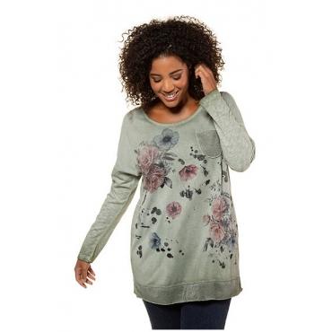 Ulla Popken Damen  Shirt, Rosenmotiv, Oversized, Metallic-Effekt, oil dyed, oliv, Gr. 50/52, Mode in großen Größen