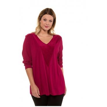 Ulla Popken Damen  Shirt, Samteinsatz, A-Linie, V-Ausschnitt, selection, dunkle himbeere, Gr. 58/60, Mode in großen Größen