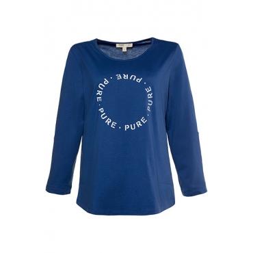 Ulla Popken Damen  Shirt, Schriftzug, Regular, Krempelriegel, Biobaumwolle, blau, Gr. 42/44, Mode in großen Größen