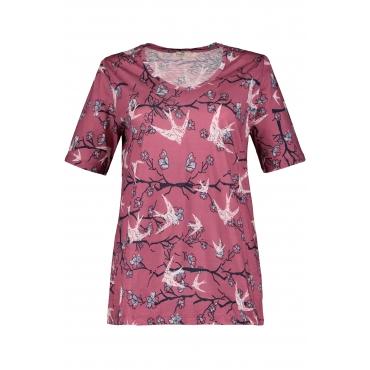 Ulla Popken Damen  T-Shirt, Schwalbenmuster, A-Linie, Biobaumwolle, rotviolett, Gr. 58/60, Mode in großen Größen