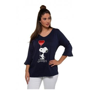Ulla Popken Damen  Shirt, Snoopy-Motiv, Classic, 3/4-Volantärmel, marine, Gr. 58/60, Mode in großen Größen