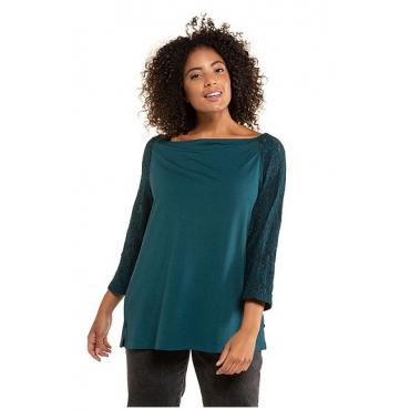 Ulla Popken Damen  Shirt, Spitzenärmel, Classic, Wasserfallausschnitt, kristallgrün, Gr. 58/60, Mode in großen Größen