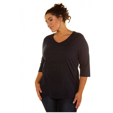 Ulla Popken Damen  Shirt, Spitzenbesatz, Regular, V-Ausschnitt, marine, Gr. 58/60, Mode in großen Größen