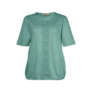 Ulla Popken Damen  Shirt, Spitzenborte, elastischer Saum, Biobaumwolle, thymian, Gr. 58/60, Mode in großen Größen