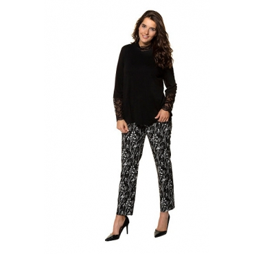 Ulla Popken Damen  Shirt, Spitzendetails, Classic, selection, schwarz, Gr. 58/60, Mode in großen Größen
