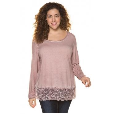Ulla Popken Damen  Shirt, Spitzensaum, Classic, Oil dyed, creme-rosé, Gr. 46/48, Mode in großen Größen