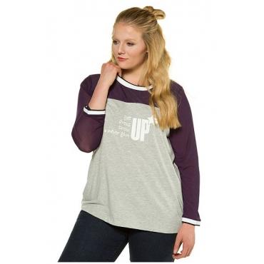 Ulla Popken Damen  Shirt, Spruchmotiv, Regular, zweifarbig, Langarm, stahlgrau-melange, Gr. 46/48, Mode in großen Größen