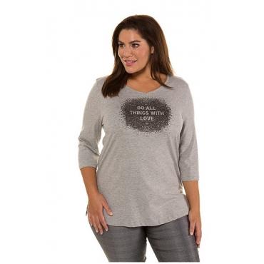 Ulla Popken Damen  Shirt, Statement-Schaumdruck, Regular, 3/4-Arm, hellgrau-melange, Gr. 58/60, Mode in großen Größen