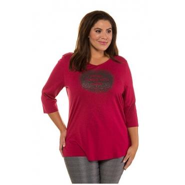 Ulla Popken Damen  Shirt, Statement-Schaumdruck, Regular, 3/4-Arm, himbeere, Gr. 58/60, Mode in großen Größen