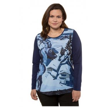 Ulla Popken Damen  Shirt, Steinbockmotiv, Classic, Ziersteine, Langarm, dunkelblau, Gr. 58/60, Mode in großen Größen