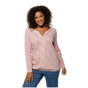 Ulla Popken Damen  Shirt, Sternenmuster, Saumtunnelzug, Baumwolle, mandelrosa, Gr. 58/60, Mode in großen Größen
